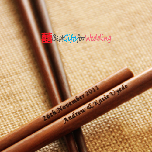Engraved Personalized Fine Wood Wedding Chopsticks (Dark Brown)