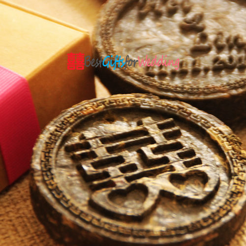 Wedding favor engraved tea coin