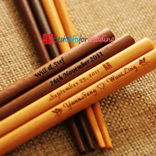 Wedding Favor – Personalized Engraved Fine Wood Chopsticks