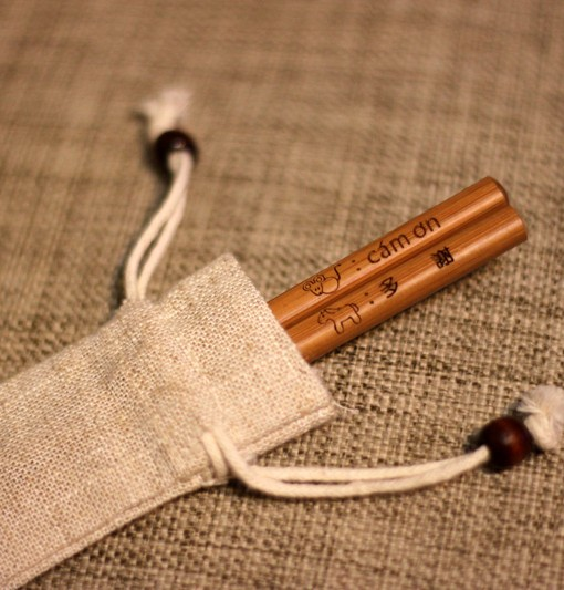 Personalized Engraved Natural Bamboo Chopsticks with Linen Bag