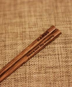 Engraved Chopsticks - Natural Chicken Wing wood_1