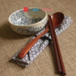 Engraved Personalized Natural Wooden Chopsticks & Spoon Set with Cotton Pouch_4