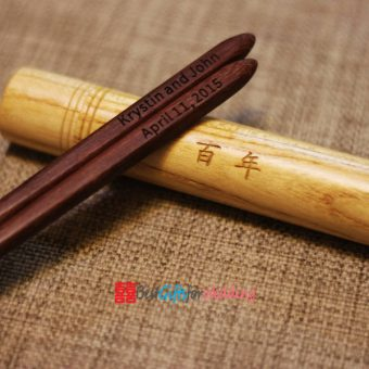 Engraved Personalized Fine Wood Portable Folding Chopsticks (Brown Chopsticks) With Circular Chopsticks Box