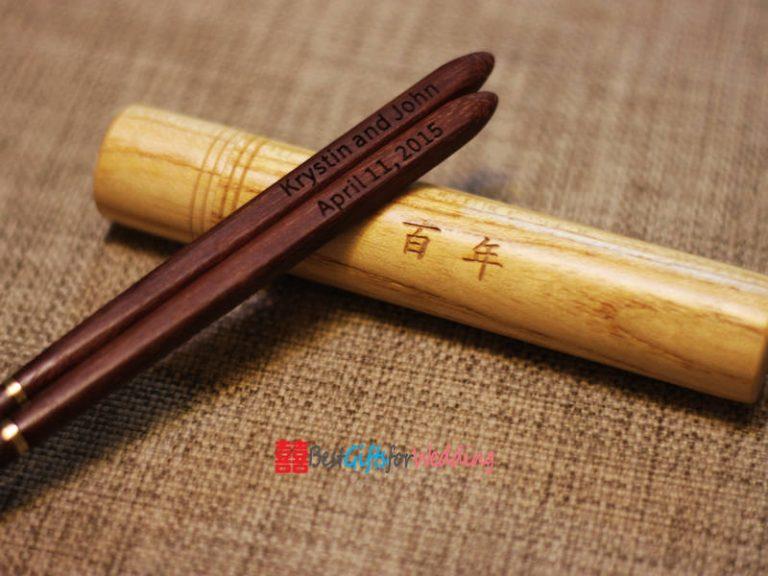 Engraved Personalized Fine Wood Portable Folding Chopsticks (Brown Chopsticks) With Circular Chopsticks Box