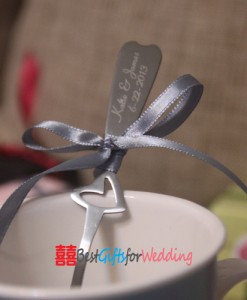 Personalized engraved heart shape handle spoon