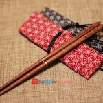 ngraved Personalized Fine Wood Portable Folding Chopsticks (Brown Chopsticks) With Cotton Bag