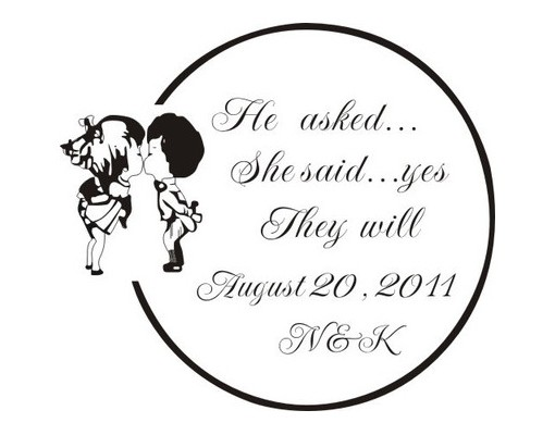 Custom Made Rubber Stamp For Wedding Gift Tags