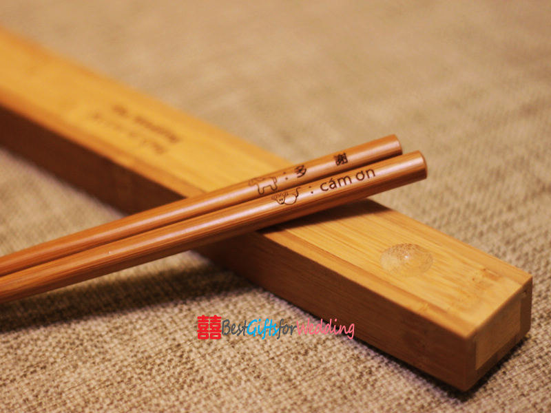 Wedding Favor Engraved Personalized Fine Wood Chopsticks With Bamboo Chopsticks Box