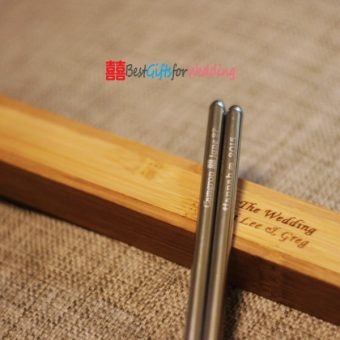 Engraved Personalized Stainless Steel Chopsticks With Bamboo Chopsticks Box