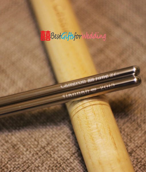 Engraved Personalized Stainless Steel Chopsticks With Wooden Circular Chopsticks Box