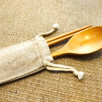 Personalized Engraved Natural Wooden Chopsticks & Spoon Set (Light Brown) with Linen Bag